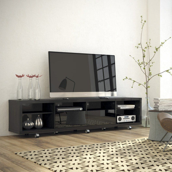 Buy Manhattan Comfort MHC 15313 Cabrini TV Stand 2 2 In Black Gloss And Black Matte At Contemporary Furniture Warehouse