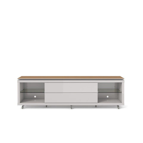 Lincoln Tv Stand 1.9 With Silicon Casters In Maple Cream And Off White Entertainment