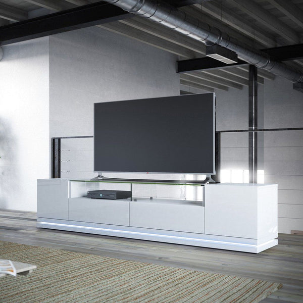 Entertainment Stands - Manhattan Comfort MHC-17552 Vanderbilt TV Stand with LED Lights in White Gloss | 7898594053075 | Only $749.90. Buy today at http://www.contemporaryfurniturewarehouse.com
