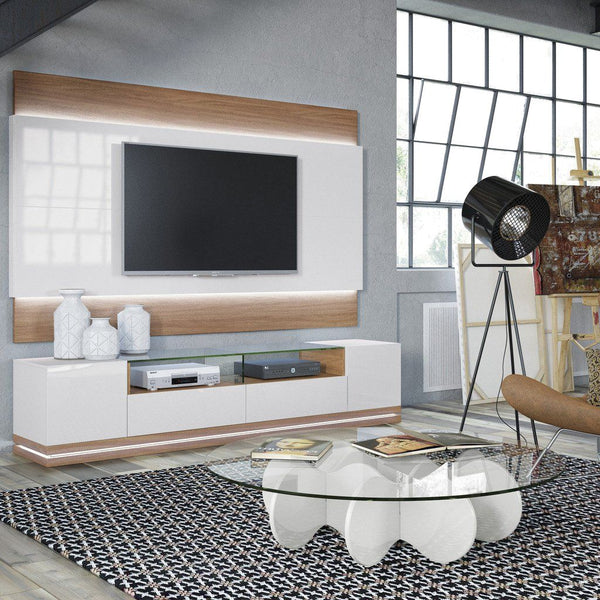 Entertainment Stands - Manhattan Comfort MHC-17554 Vanderbilt TV Stand with LED Lights in Maple Cream and Off White | 7898594053273 | Only $749.90. Buy today at http://www.contemporaryfurniturewarehouse.com
