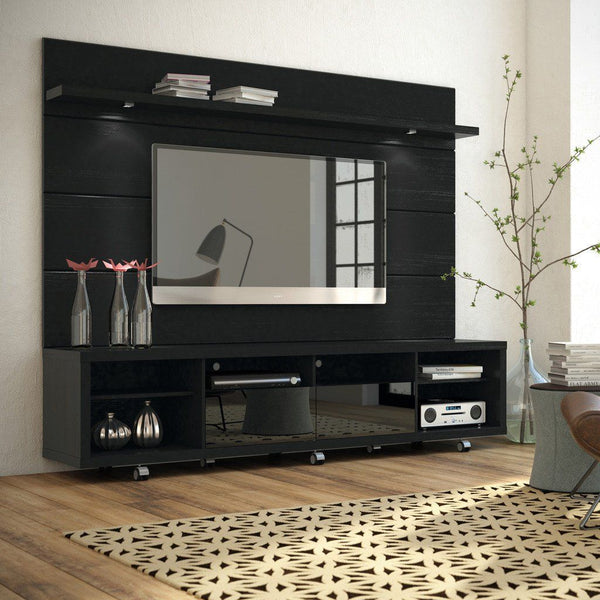 Cabrini Tv Stand And Floating Wall Panel With Led Lights 2.2 In Black Entertainment