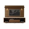 Cabrini TV Stand and Floating Wall TV Panel with LED Lights 2.2 in Nut Brown