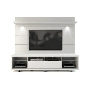 Cabrini Tv Stand And Floating Wall Panel With Led Lights 2.2 In White Gloss Entertainment