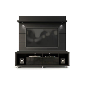 Cabrini Tv Stand And Floating Wall Panel With Led Lights 1.8 In Black Entertainment