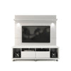 Cabrini TV Stand and Floating Wall TV Panel with LED Lights in White Gloss