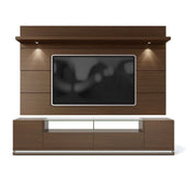 Vanderbilt Tv Stand And Cabrini 2.2 Floating Wall Panel With Led Lights In Nut Brown Entertainment