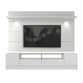 Vanderbilt Tv Stand And Cabrini 2.2 Floating Wall Panel With Led Lights In White Gloss Entertainment