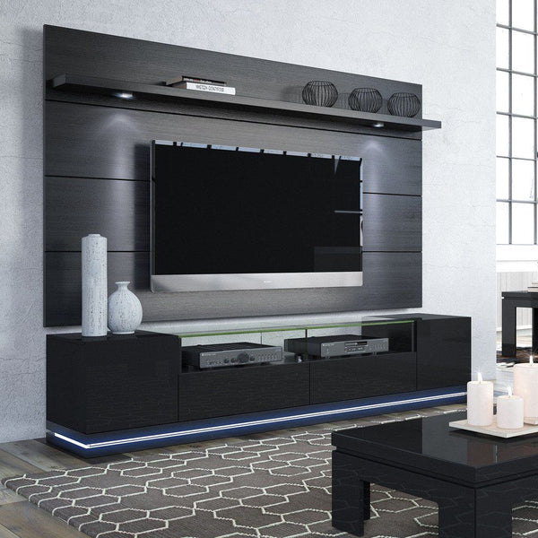 Buy Manhattan Comfort MHC 2 1755382353 Vanderbilt TV Stand And Cabrini 2 2 Floating Wall TV Panel With LED Lights In Black Gloss And Black Matte At