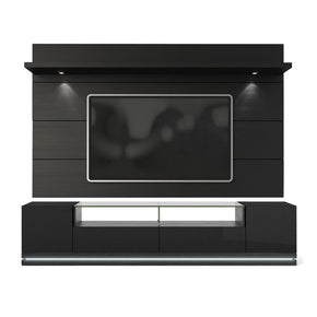 Vanderbilt Tv Stand And Cabrini 2.2 Floating Wall Panel With Led Lights In Black Gloss Matte Entertainment