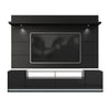 Vanderbilt TV Stand and Cabrini 2.2 Floating Wall TV Panel with LED Lights in Black Gloss and Black Matte