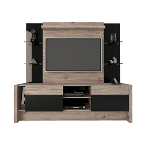 Morning Side Freestanding Theater Entertainment Center In Nature And Black Stand