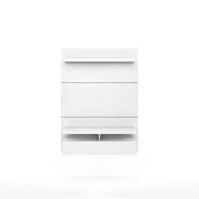 City 1.2 Floating Wall Theater Entertainment Center In White Gloss Stand