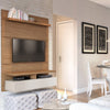 City 1.2 Floating Wall Theater Entertainment Center In Maple Cream And Off White Stand
