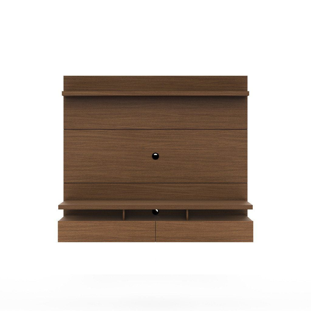 City 1.8 Floating Wall Theater Entertainment Center In Nut Brown Stand