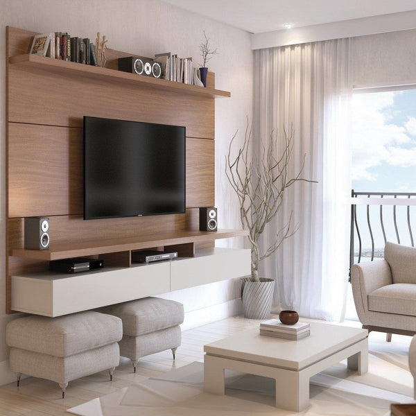 City 2.2 Floating Wall Theater Entertainment Center In Maple Cream And Off White Stand