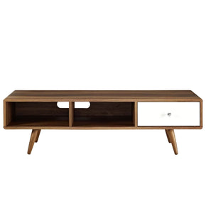 Transmit 55? Mid-Century Style Tv Stand Walnut / White Lacquer Entertainment