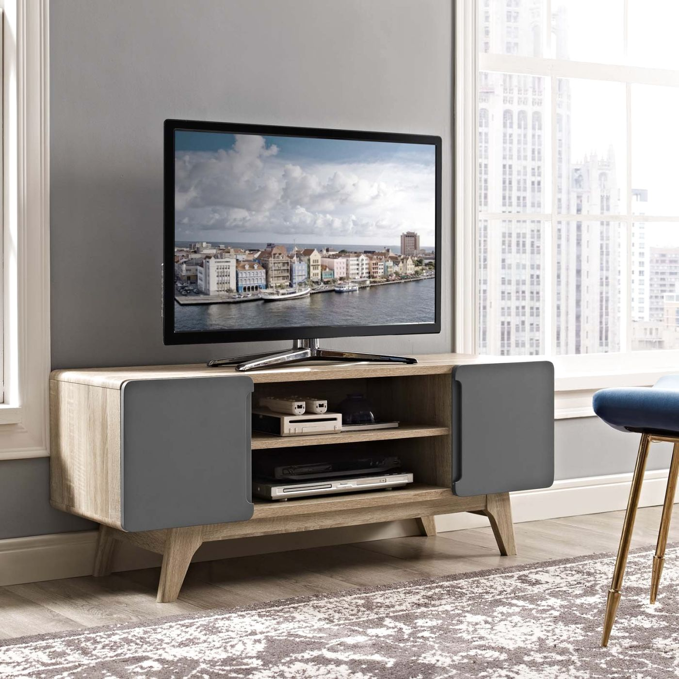 ... Tread 47 Mid Century Modern Tv Stand Walnut Or Natural Wood  Entertainment ...