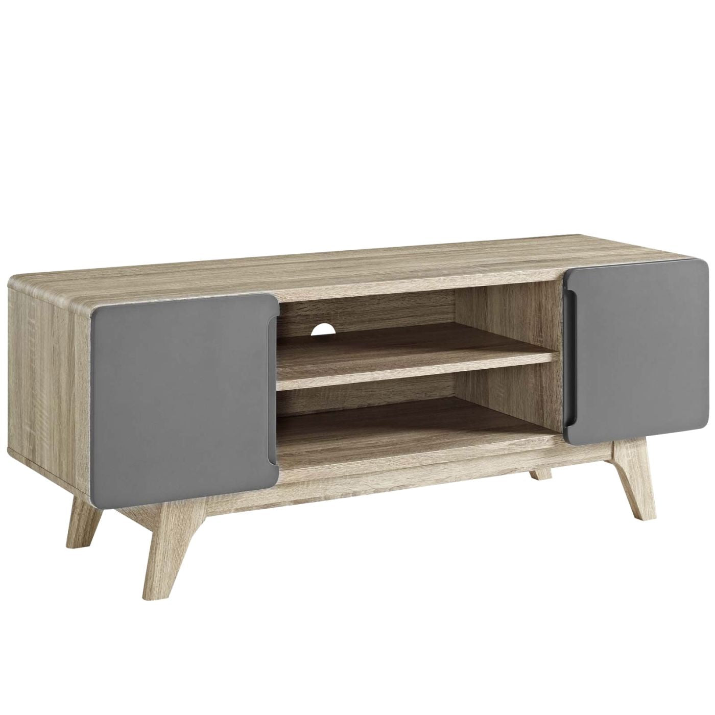 Tread 47 Mid Century Modern Tv Stand Walnut Or Natural Wood Gray  Entertainment ...