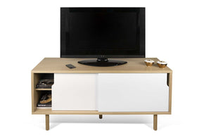 Dann Tv Table W/ Wood Legs Oak / Pure White Entertainment Stand