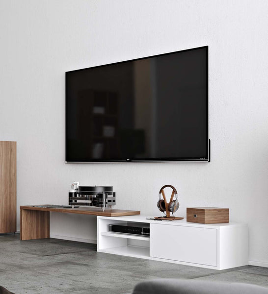 Move Tv Table Walnut / Pure White Entertainment Stand