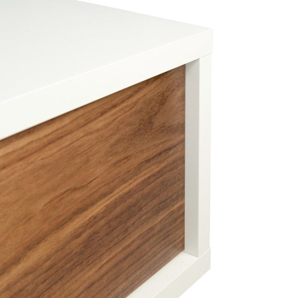 Slide Low Entertainment Stand Pure White / Walnut