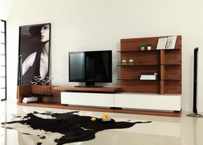 Modrest Jefferson Modern Walnut And White High Gloss Tv Unit Entertainment Stand