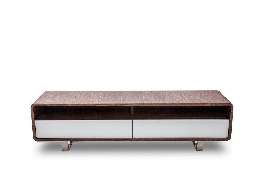 Modrest Avis Modern Walnut & White Tv Stand Entertainment