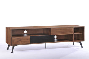 Modrest Garrison Modern Walnut & Black Tv Stand Entertainment
