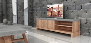 Modrest Civic Modern Concrete & Acacia Tv Stand Entertainment