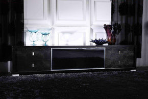 A&x Leopold Modern Black Crocodile Tv Stand Entertainment