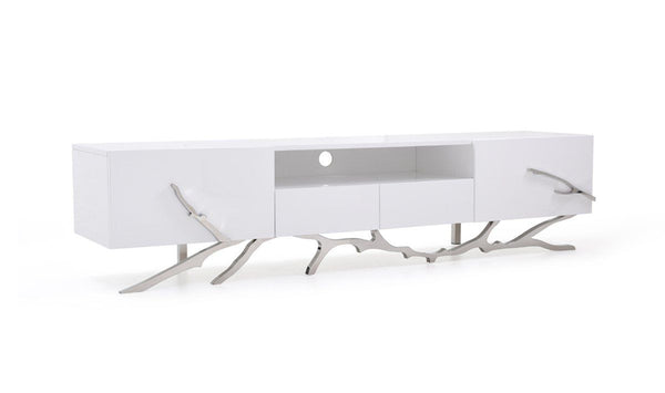 Entertainment Stands - Vig Furniture VGVCTV8111 Modrest Legend Modern White TV Stand With Tree Branch Design Stainless Steel Base | Only $1319.80. Buy today at http://www.contemporaryfurniturewarehouse.com