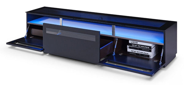 Modrest Lowry Contemporary Black Tv Stand Entertainment