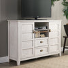 "Entertainment Stands - Walker Edison AH52CRCWW 52"" Rustic Chic TV Console - White Wash 