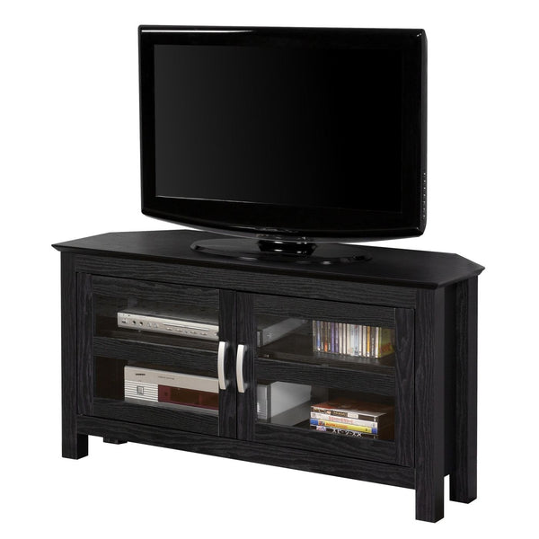 44 Black Wood Corner Tv Stand Console Entertainment