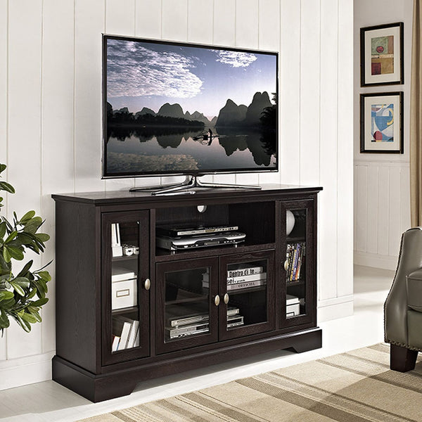 52 Espresso Wood Highboy Tv Stand Entertainment