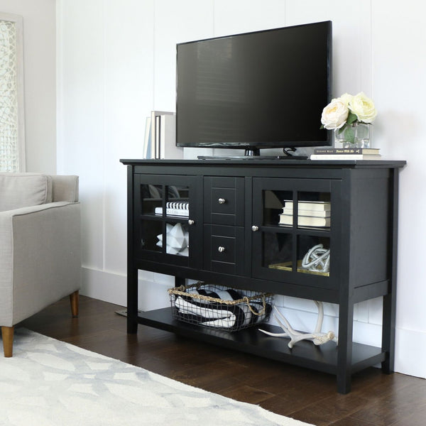 52 Black Wood Console Table Tv Stand Entertainment