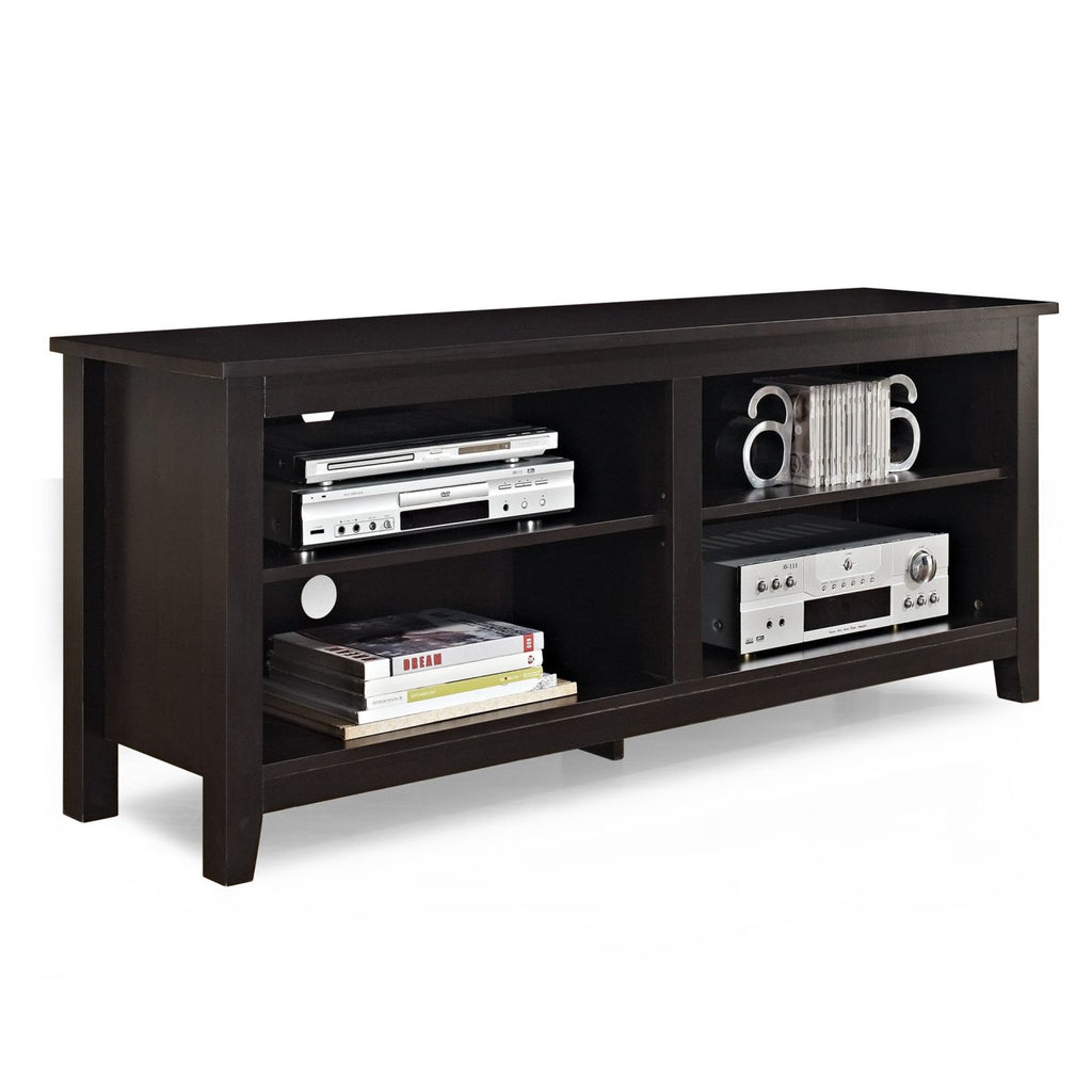58 Espresso Wood Tv Stand Console Entertainment