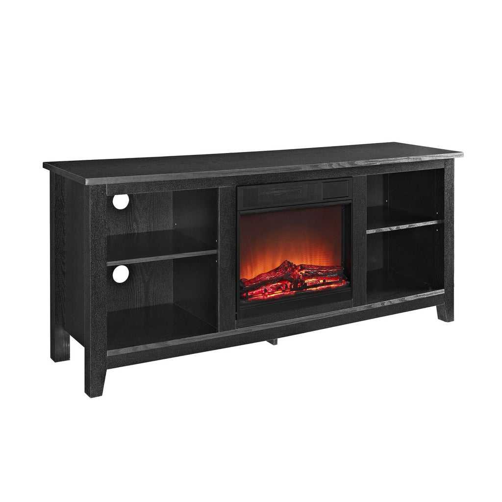 58 Black Wood Tv Stand With Fireplace Insert Entertainment