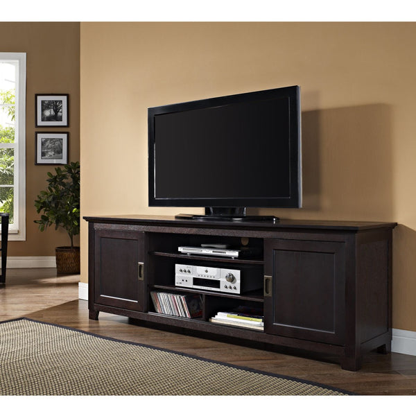 70 Espresso Wood Tv Stand With Sliding Doors Entertainment
