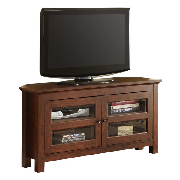 44 Brown Wood Corner Tv Stand Console Entertainment