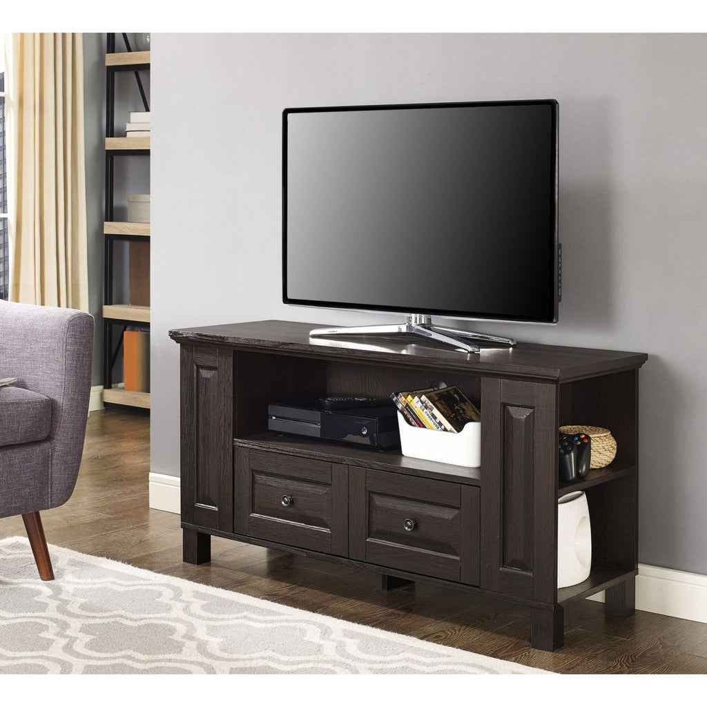 "Entertainment Stands - Walker Edison WQ44CMPES 44"" Espresso Wood TV Stand Console 
