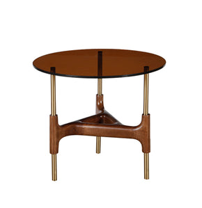 Vig Furniture VGCSET-17125 Modrest Lawson Modern Round Walnut & Glass End Table