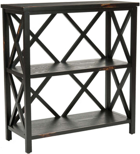 Lucas Low Etagere Distressed Black