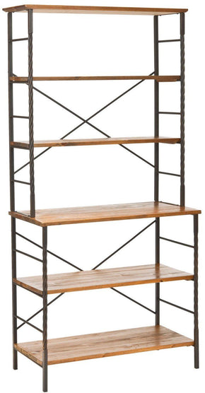 Brooke 6 Tier Etagere Antique Pewter/ Brown Pine