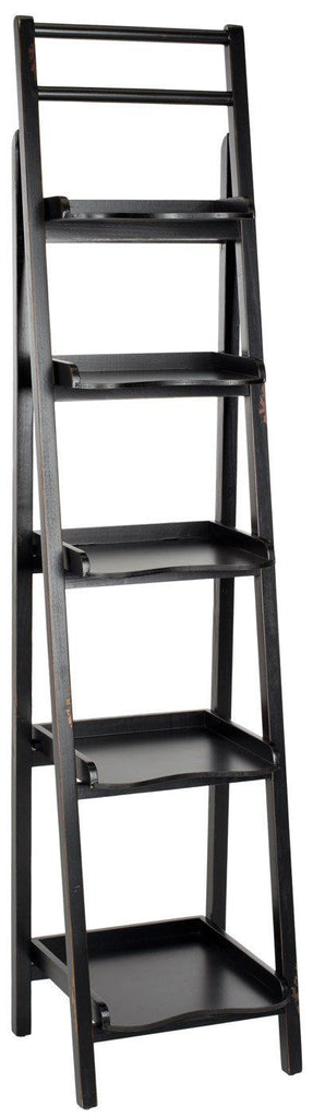 Asher Leaning 5 Tier Etagere Distressed Black