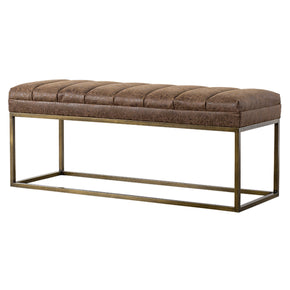 New Pacific Direct 3900030-NCE Darius PU Leather Bench Nubuck Chocolate