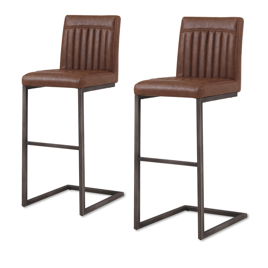New Pacific Direct 1060009-215 Ronan PU Leather Bar Stool (Set of 2) Antique Cigar Brown