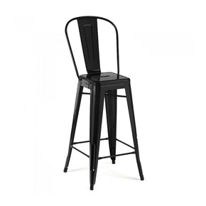 DesignLab MN LS-9100-MTBLKHB Dreux Matte Black Steel High Back Barstool 30 Inch (Set of 4) 646263991749
