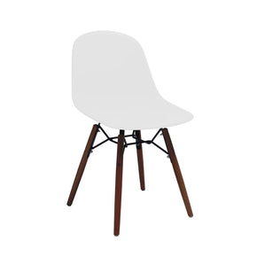 DesignLab MN LS-9441-WHTWAL Grazia White Mid Century Side Chair Walnut Base Original Design (Set of 4) 646263991541