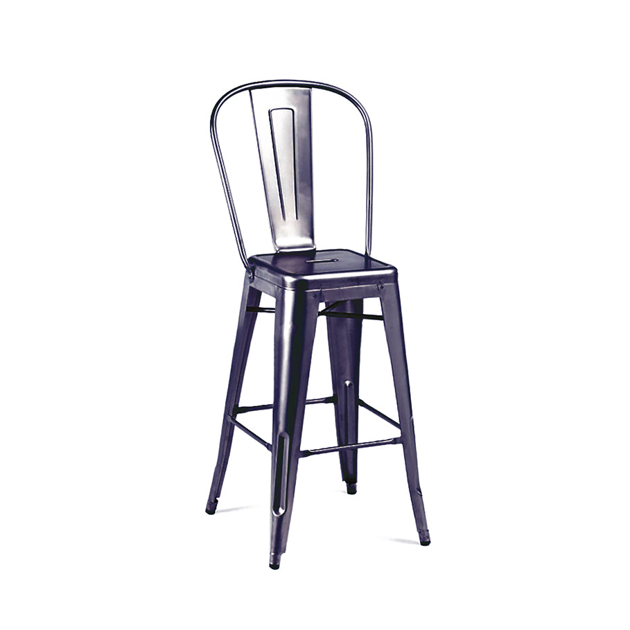 DesignLab MN LS-9102-DGUNHB Dreux Dark Gunmetal High Back Steel Counter Stool 26 Inch (Set of 4) 646263991848